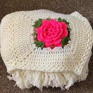 Homemade Crochet Rose Afghan 3D Blanket